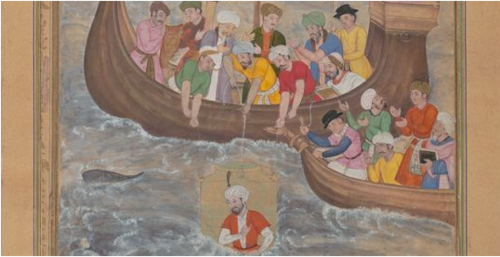 Alexander is Lowered into the Sea, Folio from Amir Khusrow Dihlavi's Alexandrine Mirror, 1597–98