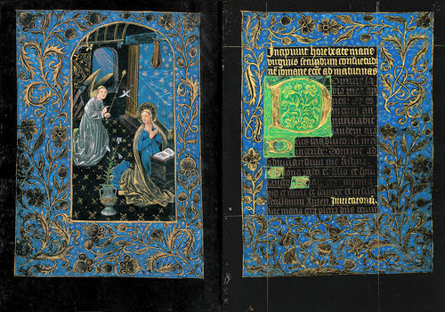 Pierpont Morgan Library, MS M.493 (Black Book of Hours), Annunciation,  fols. 29v–30r, Bruges, ca. 1480, 170 x 122 mm.